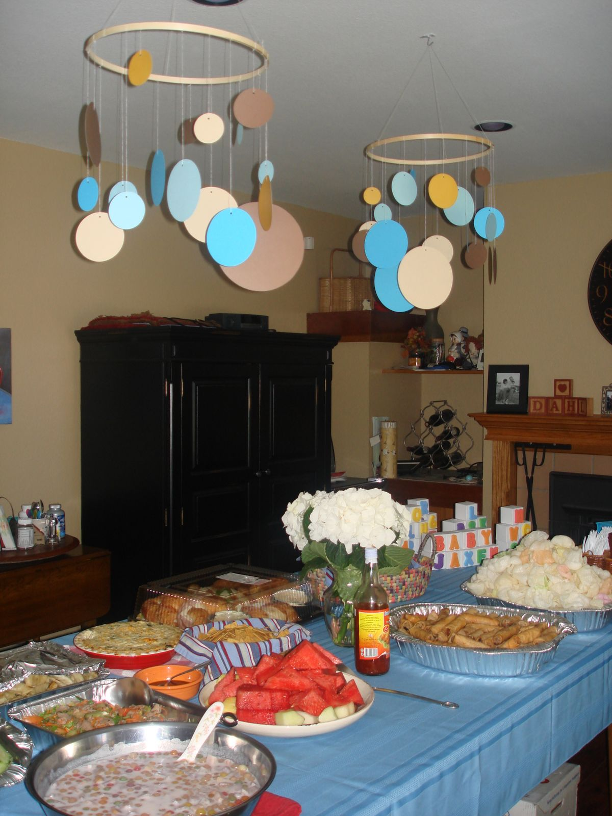 At The Baby Shower, Paper Mobiles Hung Over The Food Table And Were Then  Used In The Nursery Afterwards.
