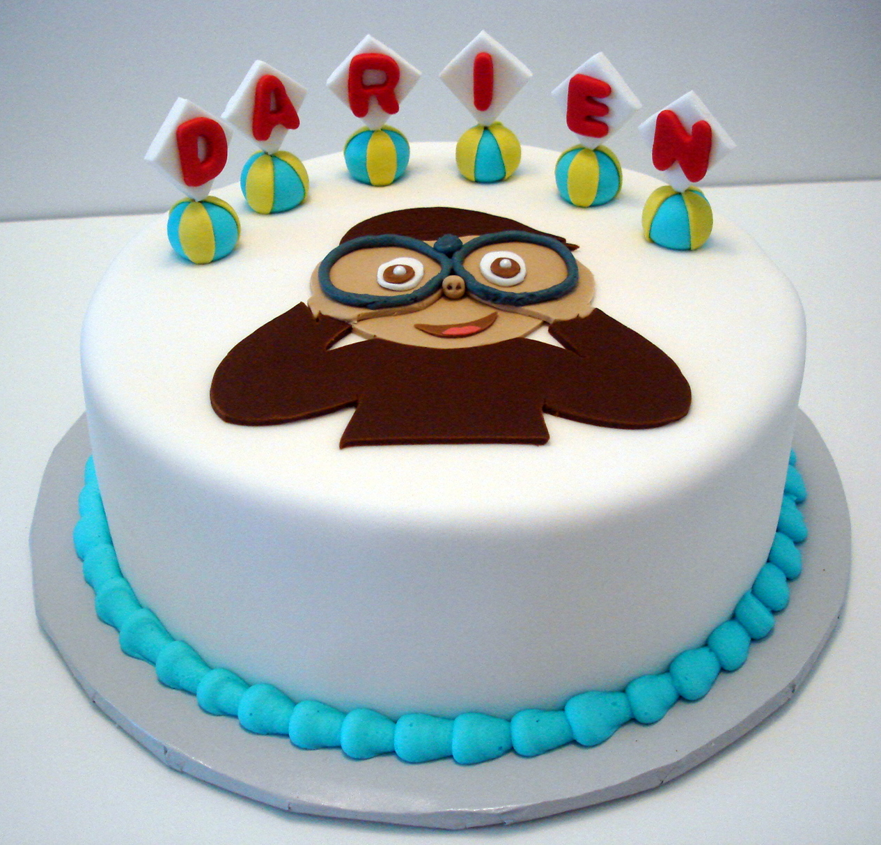 Magnificent Curious George Cake Ms Tapioca Personalised Birthday Cards Beptaeletsinfo
