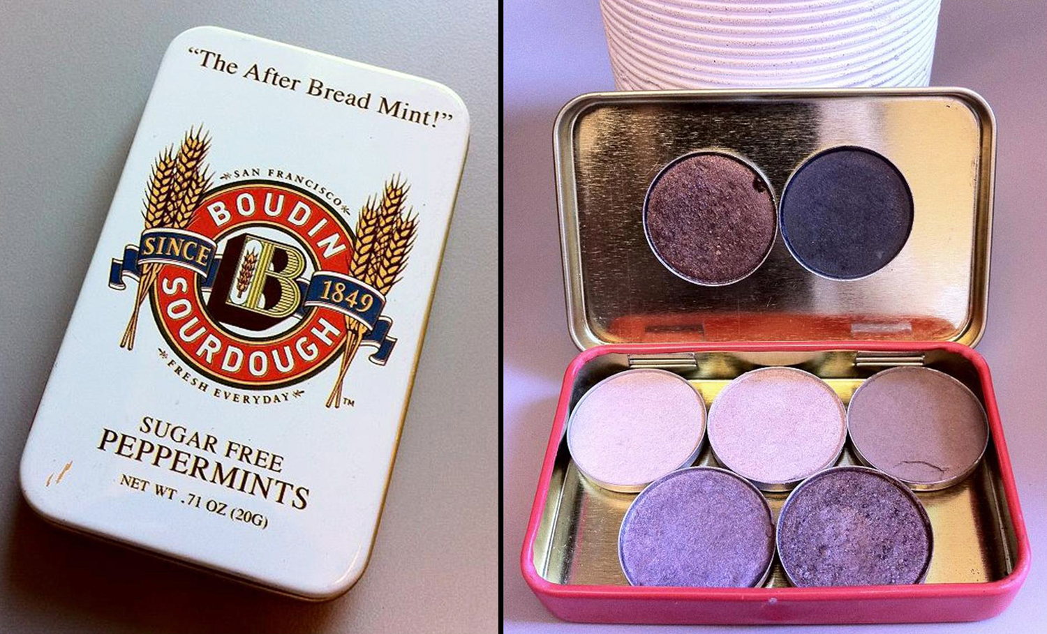 I loooooooove the clam chowder at Boudin Bakery and couldn't resist these mints. The little tin was too cute to throw away and later came in handy.